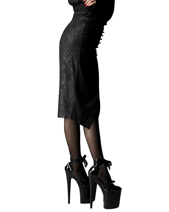 a93e941fdcde5 Punk Rave Bleistift Rock schwarz Brokat Gotique Skirt Black Q-197:  Amazon.de: Bekleidung