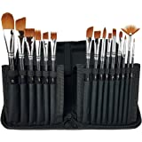 Artist Professional Paint Brush Set With 15 Brushes & Carrying Case - Built-In Brush Stand – Hobby - Acrylic – Face Painting - Oil – Watercolor – Plein Air – Gouache