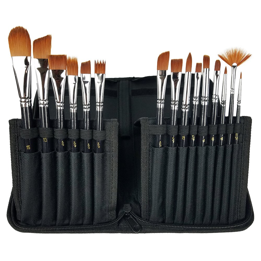 CP Art Watercolor Brushes 15 Piece Acrylic Paint Set – Includes Carrying Case With Brush Stand For Hobby And Face Painting