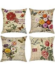 Gspirit Almohada de Pareja Funda cojin LO & VE Decorativo algodón Lino cojín Cubierta Almohada cojínes 45x45 cm para Pareja El Amor