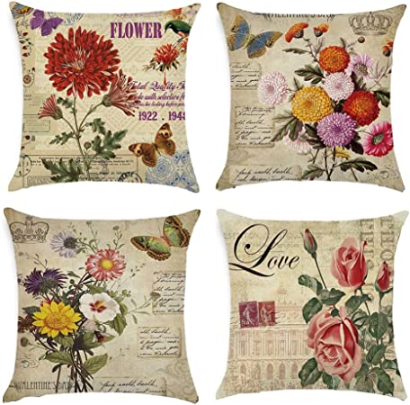 Gspirit 4 Pack clásico Las Flores Rosa Algodón Lino Throw Pillow Case Funda de Almohada para Cojín 45x45 cm: Amazon.es: Hogar