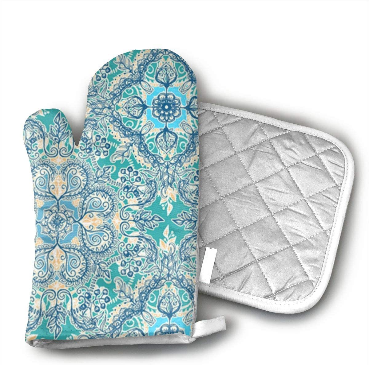 STRWBfhk Gypsy Floral in Teal Oven Mitts,Heat Resistant Oven Gloves and Pot Holders, Safe BBQ Cooking Baking Grilling