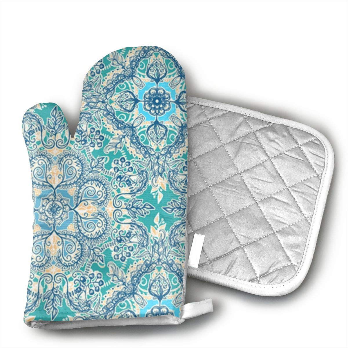 Gypsy Floral In Teal Oven Mitts And BBQ Gloves Pot Holders, Heat Resistant Mitts For Finger Hand Wrist Protection With Inner Lining, Kitchen Gloves For Grilling Machine Baking Grilling With Non-Slip