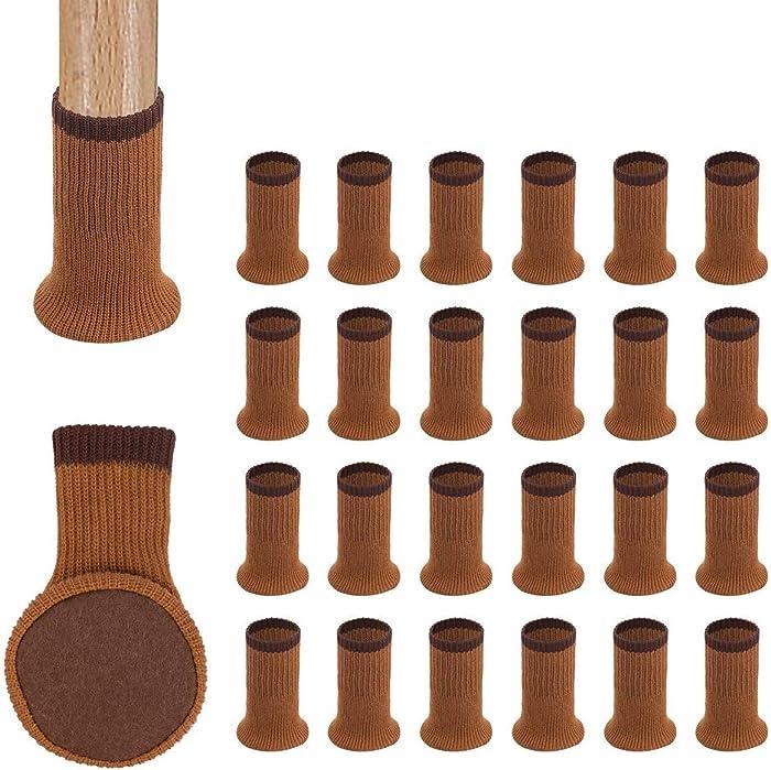 Chair Leg Socks,24PCS Knitted High Elastic Furniture Floor Protectors Pad,Non Slip & Anti-Noise Furniture Feet Caps Covers Set,Fit Girth 2.7