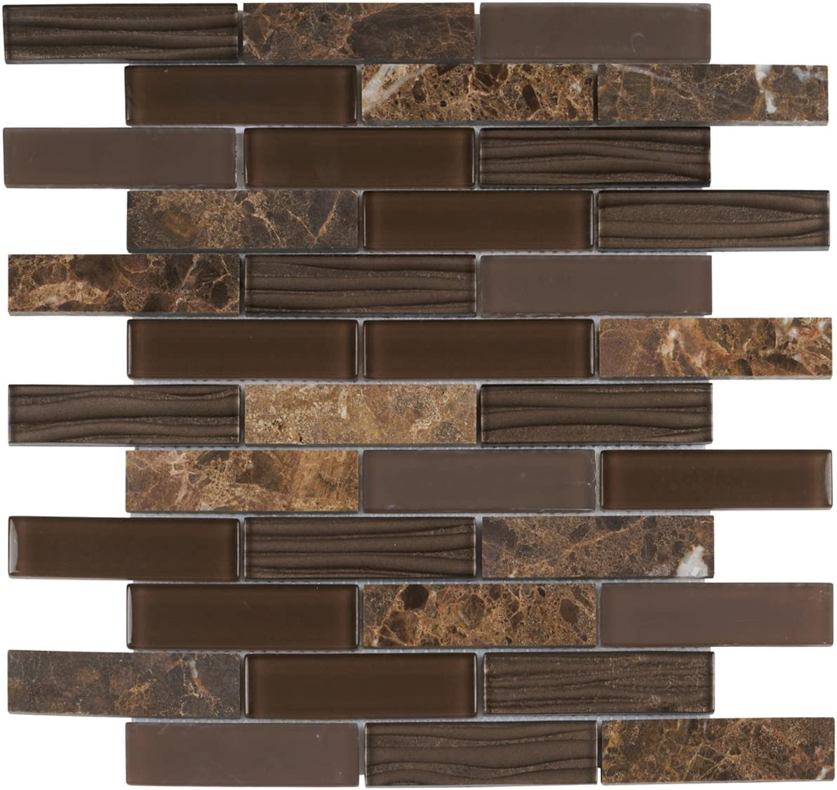 - Modket TDH61MO Emperador Dark Brown Marble Stone Mosaic Tile, Wave Cold  Spray, Glass Blended Brick Joint Pattern Backsplash - - Amazon.com