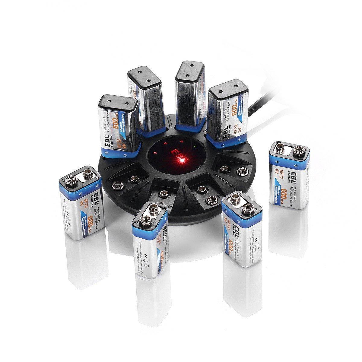EBL 8 Stecker Akku Ladegerät für 9 V Block Li-ion Wiederaufladbare Akkus