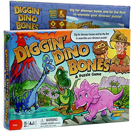 Amazon Com Continuum Games Digging Dino Bones Board Game Kids Aged 4 Up Toys Games