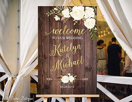 Monsety Cartel de Boda con Texto en inglés Welcome Wedding ...