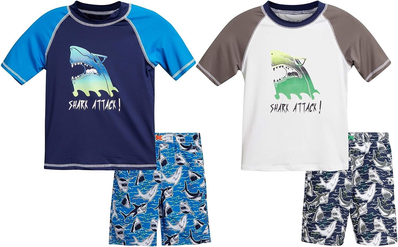 iXtreme Boys' Swimwear 4-Piece Set with Rash Guard UPF 50+ T-Shirts and Swimsuit Trunks