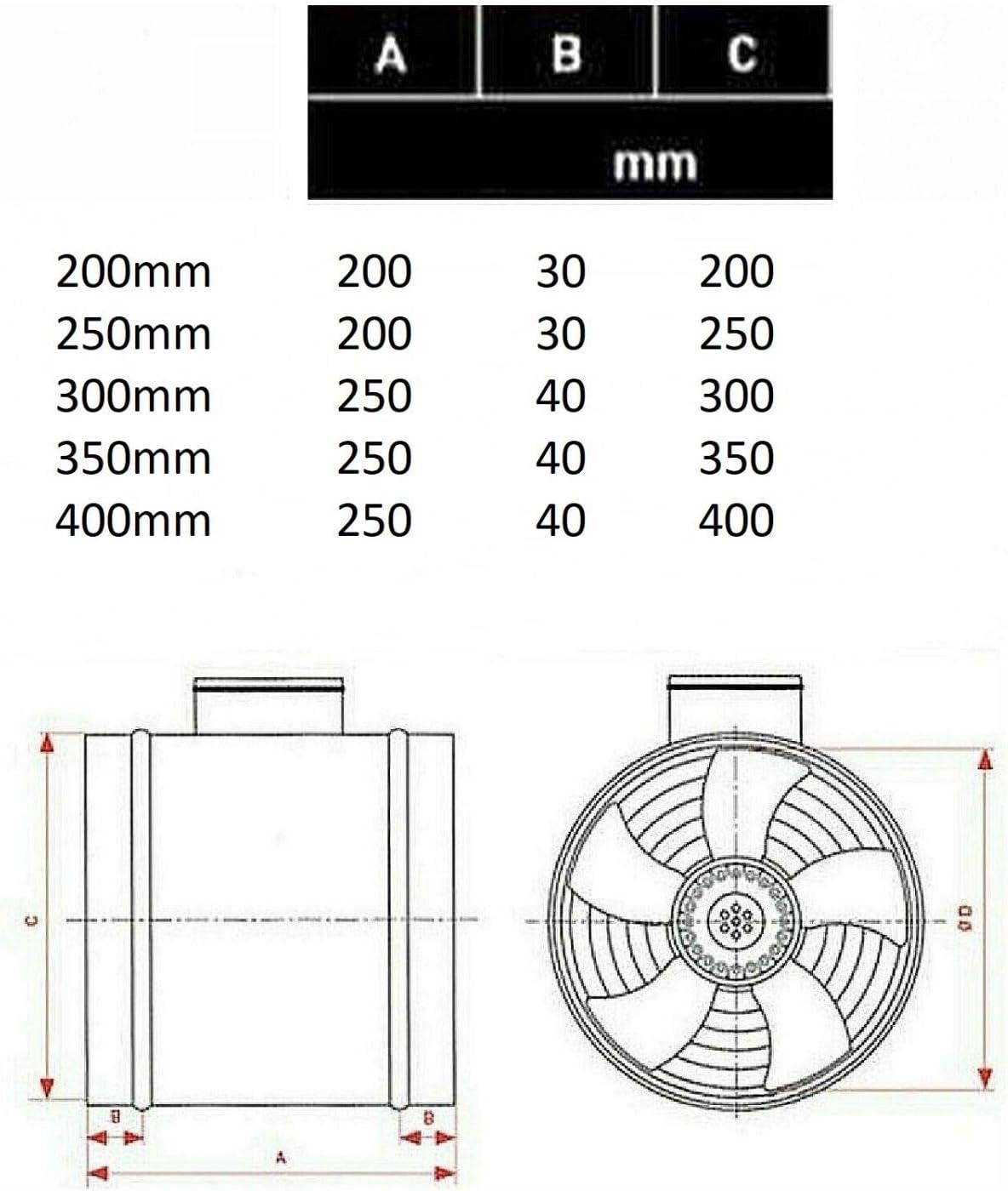 400mm TURBO 5600m³//h Axial Rohrventilator Rohrlüfter Ventilator//Gebläse//Lüfter #