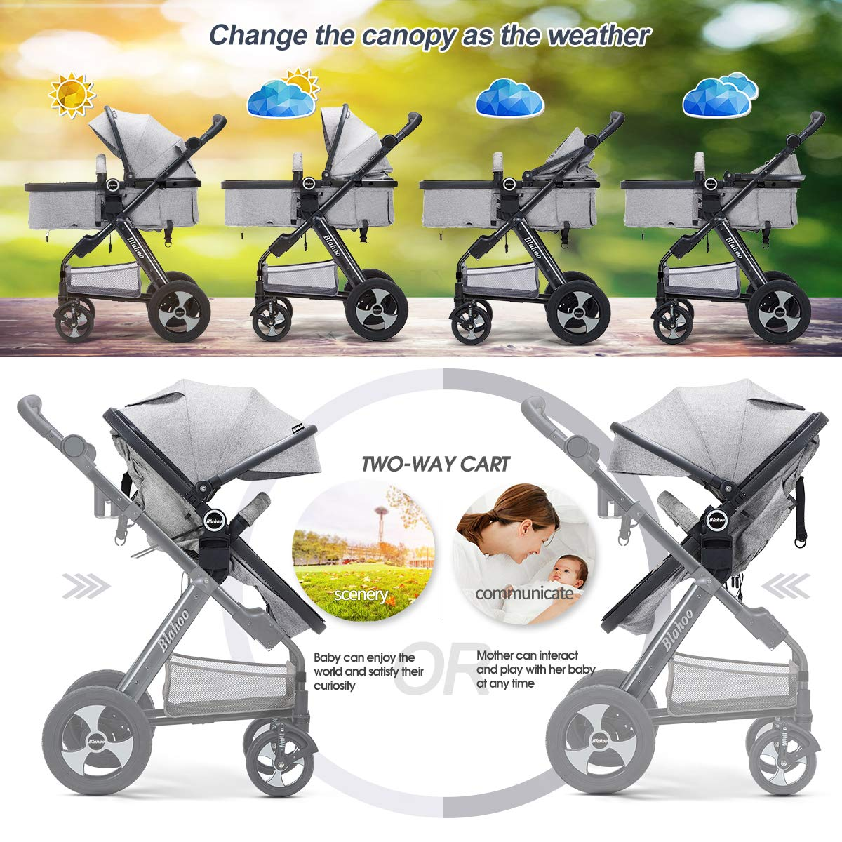 Blahoo Compact Stroller Organizer Bassinet Stroller Lightweight for Toddler Reversible with Cup Holder 8002BLUE