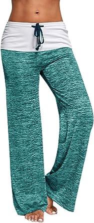 Mujer Pantalones Anchos Casual Talle Alto Pantalon Yoga Jogging Deportivos De Pierna Largo Cintura Media Pantalon Suave Yoga Fitness Deportes Tallas Grandes Amazon Es Ropa Y Accesorios