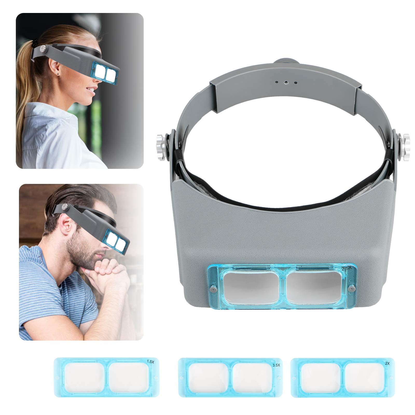 Head Mount Magnifier Headband Magnifier Professional Jeweler's Loupe Handsfree Reading Magnifier Magnifying Glasses with 4 Replaceable Lenses 1.5X,2.0X,2.5X,3.0X Magnification for Watch Repair, Crafts by Sunjoyco