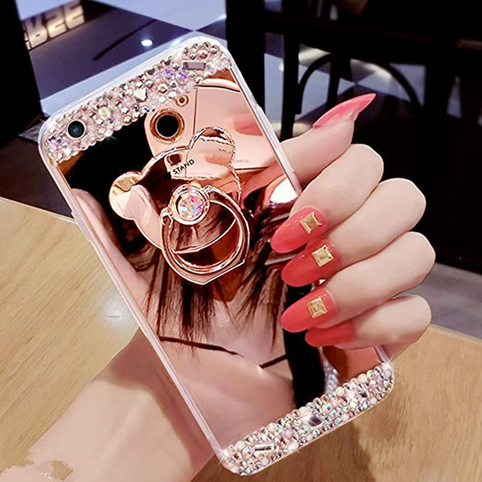 c8daf4f21d1 COTDINFOR Galaxy S6 Edge Funda de Espejo Lindo para niñas Case de Cristal  Brillante Bling Diamond Glitter TPU Protectora con Soporte de Anillo para  Samsung ...
