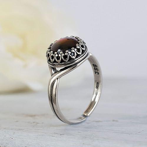 Natural Garnet Ring January Birthstone Garnet Ring 92.5 Silver Ring Women/'s Garnet Jewelry Anniversary Gift Ring Womens Garnet Ring