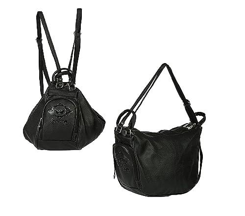 ed3047de13 MultiZone Women s PU 2 Ways Convertible Backpack Cum Shoulder Sling Bag ( Black)