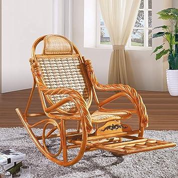 Rocking chair, rotin véritable loisirs rotin balcon Lounge ...