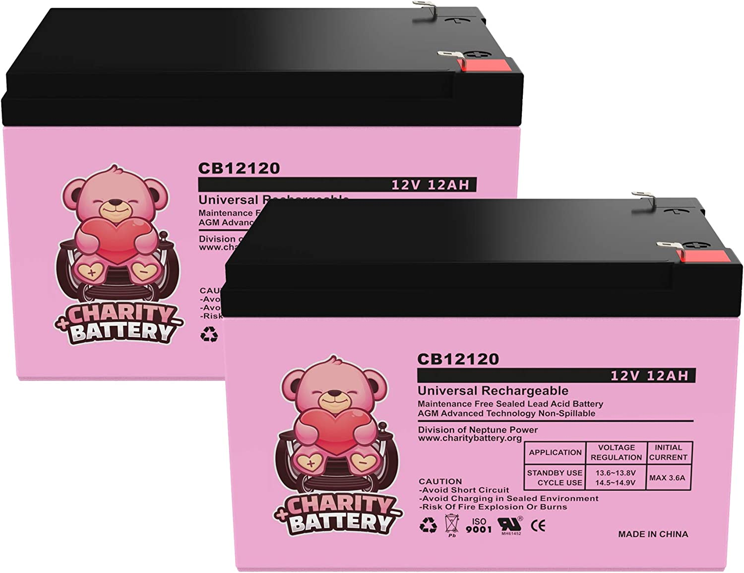 2 Pack eZip eZip 750 12V 12Ah Replacement Electric Scooter Battery CB12120 by Charity Battery