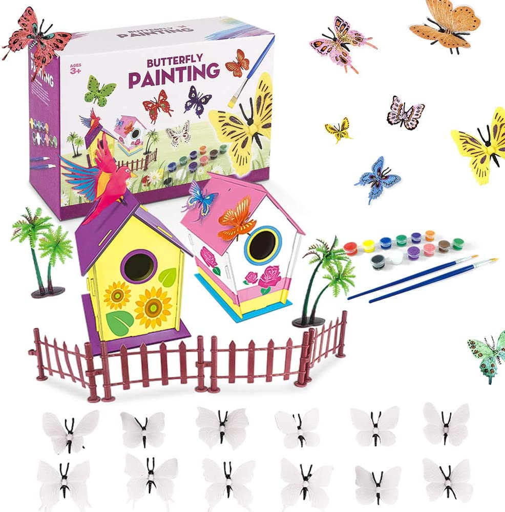 Lekebaby Bird House Kits, DIY Arts and Crafts for Kids to Build, Butterfly Painting Kit for Age 3 and Up Boys Girls