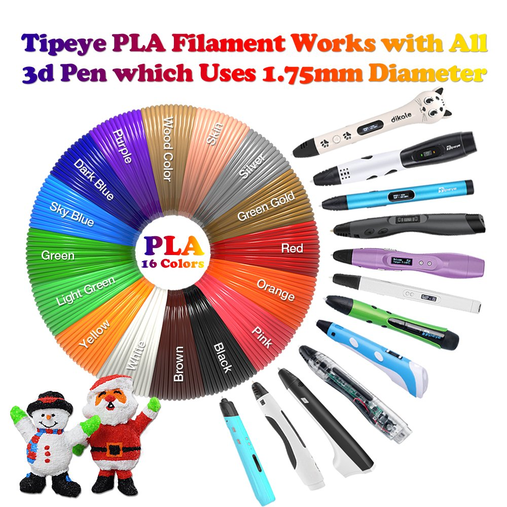 3D Pen Filament Refills PLA 16 Colors 40 Feet 1.75mm with 200 Stencils eBook Total 640 Feet 3D Art Pen Filament for TIPEYE, Canbor, MYNT3D, DigiHero, Zerofire, Dikale, BeTIM 3D Printing Pen and etc by TIPEYE (Image #2)