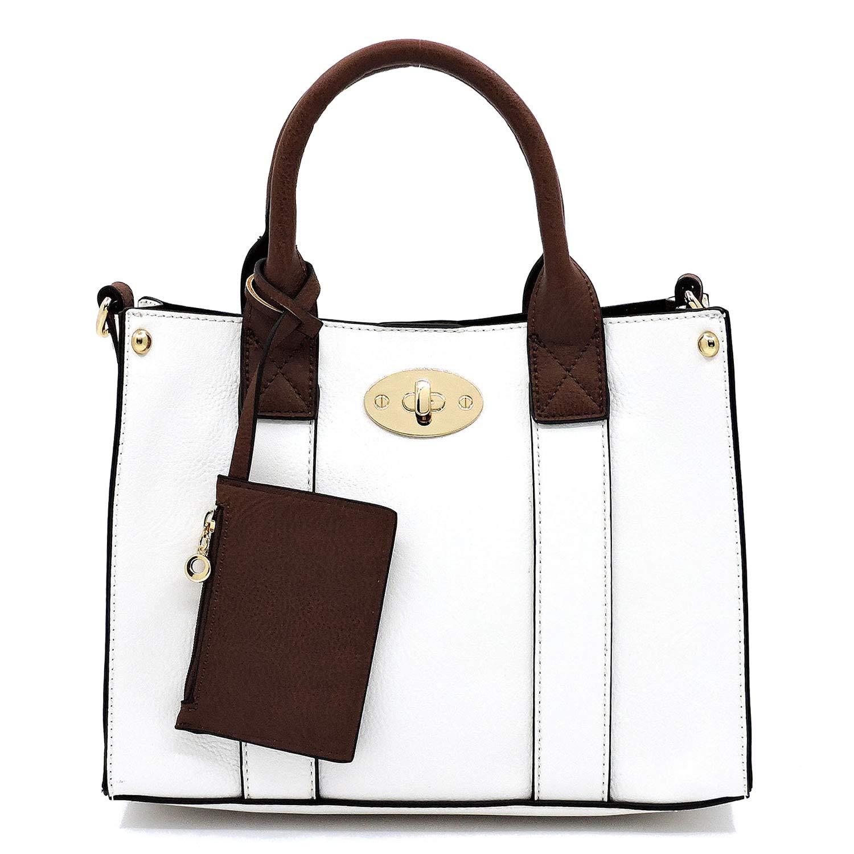 White Vegan faux leather Mini handbag + Crossbody purse + Flat pouch 3 pcs set