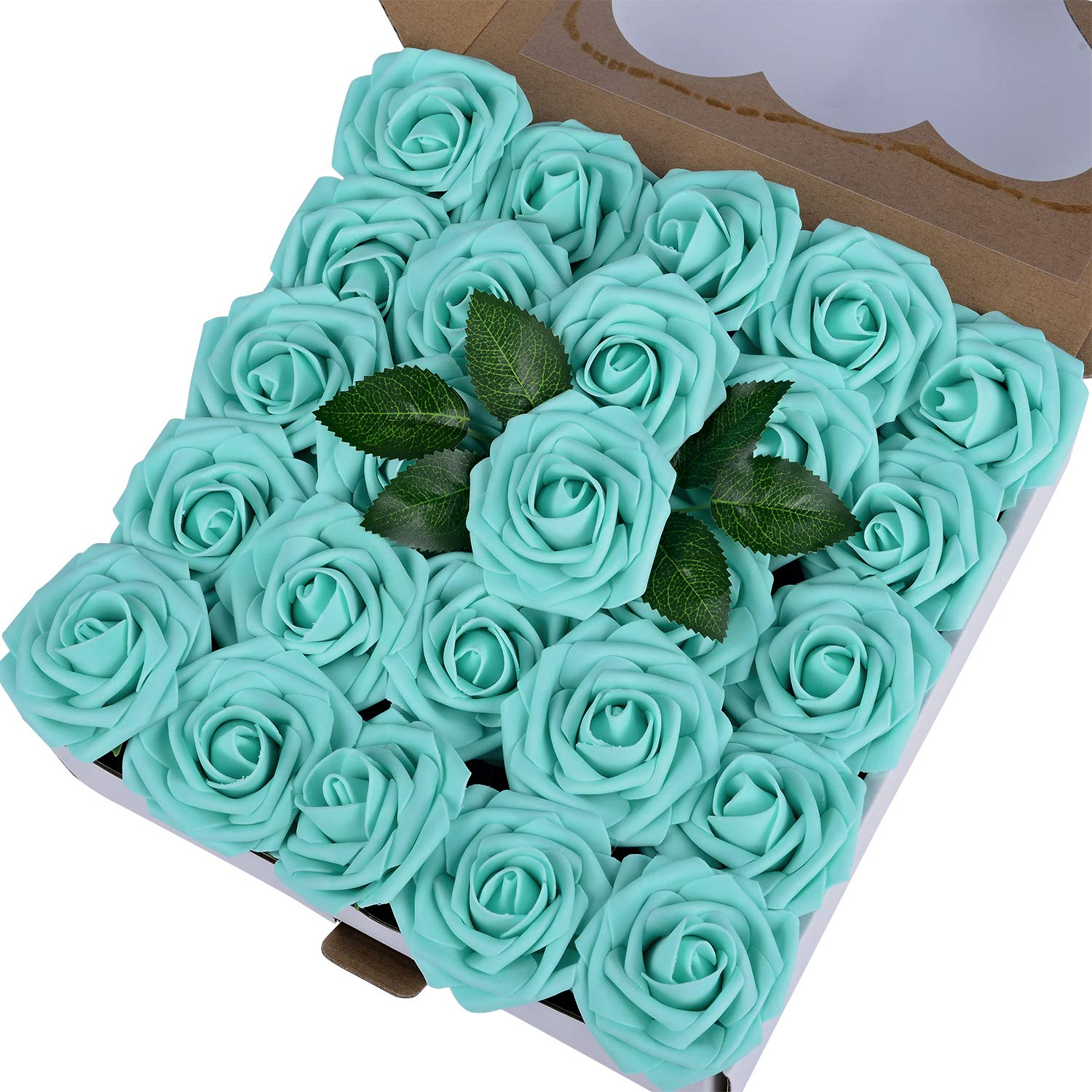 Breeze Talk Artificial Flowers Robin's Egg Blue Roses 50pcs Realistic Fake Roses w/Stem for DIY Wedding Bouquets Centerpieces Arrangements Party Baby Shower Home Decorations (50pcs Robin's Egg Blue)