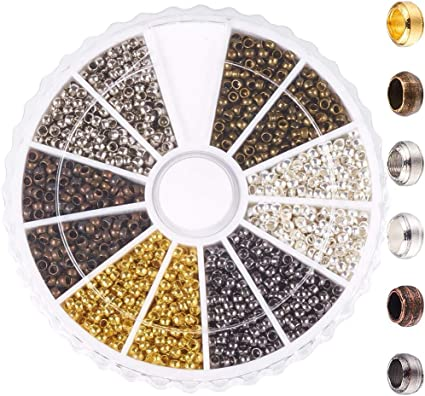 FashionSun 3000 Pcs Metal Spacer Crimp Beads Positioning Loose DIY Beads Jewelry Making Ends Caps with 6 Colors