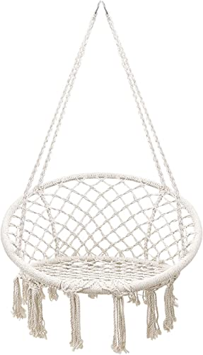 Flexzion Hammock Chair Macrame Swing, Hanging Papasan Cotton Rope Macrame Hammock Swing Chair for Indoor, Outdoor, Home, Bedroom, Patio, Porch, Deck, Yard, Garden, Max Weight 265 Pounds