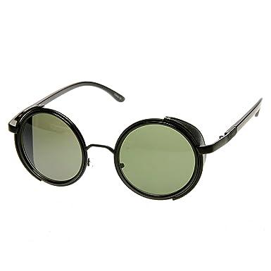 92d7040d1ef zeroUV - Studio Cover Faux Leather Side Shield Steampunk Round Sunglasses ( Black)  Amazon.co.uk  Clothing