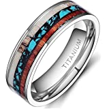 6mm/8mm Deer Antlers Titanium Ring Wedding Bands Turquoise Wood Inlaid Flat Comfort Fit