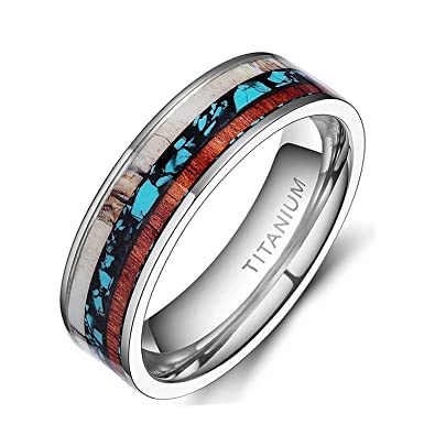 6mm8mm deer antlers titanium ring wedding bands turquoise wood inlaid flat comfort fit - Turquoise Wedding Ring