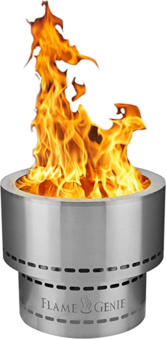 Amazon Com Hy C Fg 19 Ss Flame Genie Portable Inferno Rust Proof Wood Pellet Fire Pit Usa Made 19 Diameter Stainless Steel Garden Outdoor
