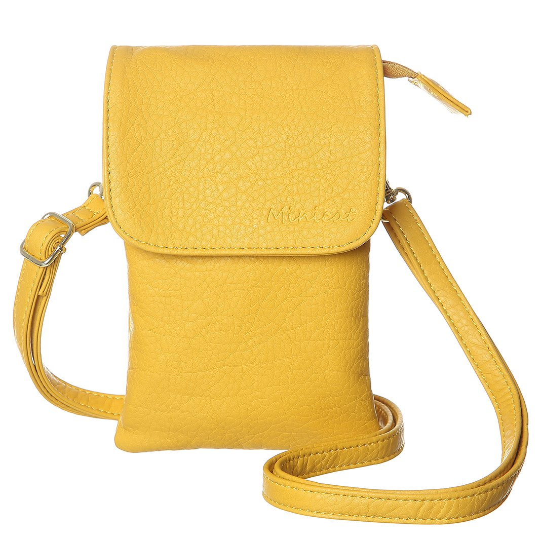MINICAT Roomy Pockets Series Small Crossbody Bag Cell Phone Purse Wallet For Women (Yellow)