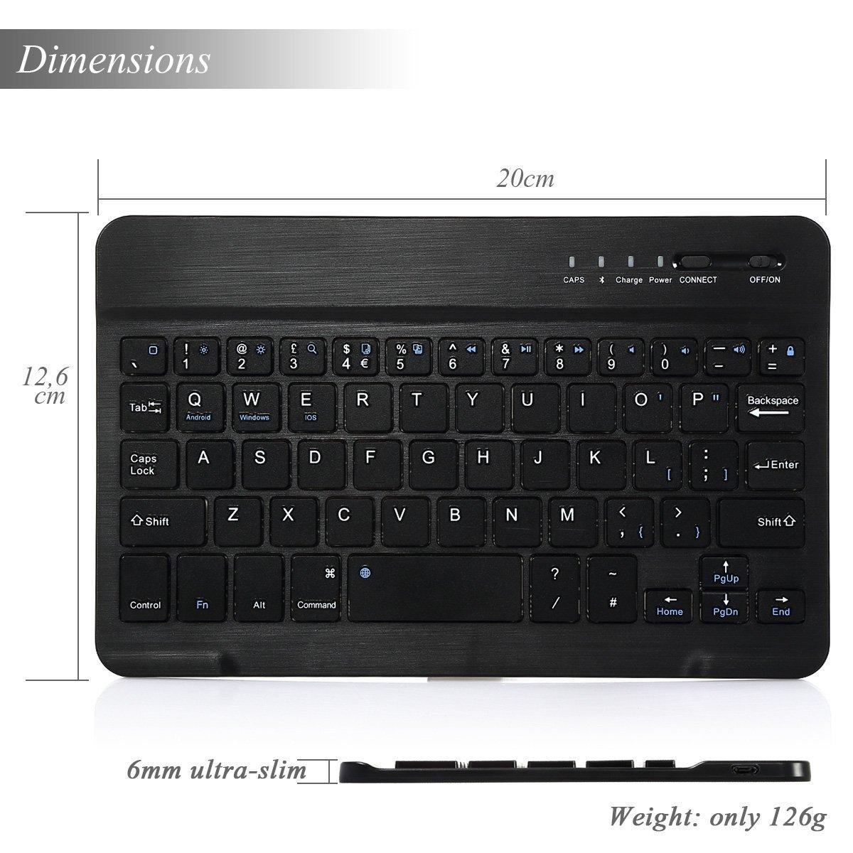 CoastaCloud 7-inch Ultra Slim Portable Wireless Bluetooth Keyboard for iPad 2/3/4, iPad Mini 4/3/2/1, Galaxy Tab and other iOS, Android, Windows Devices (Black) by CoastaCloud (Image #4)