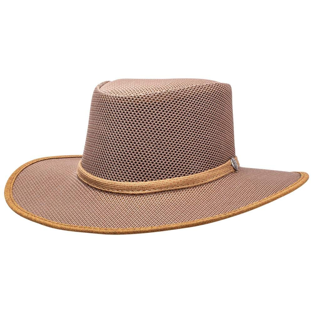 SOLAIR HATS Cabana by American Hat Makers Mesh Leather Hat, Beaver - X-Large