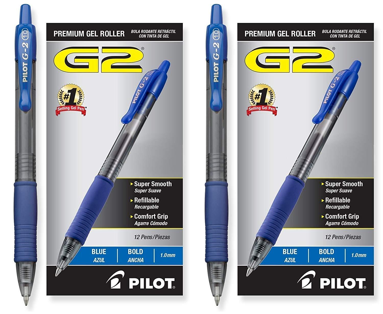 Pilot G2 Retractable Premium Gel Ink Roller Ball Pens, Bold Pt, 24 Pack, Blue by Pilot