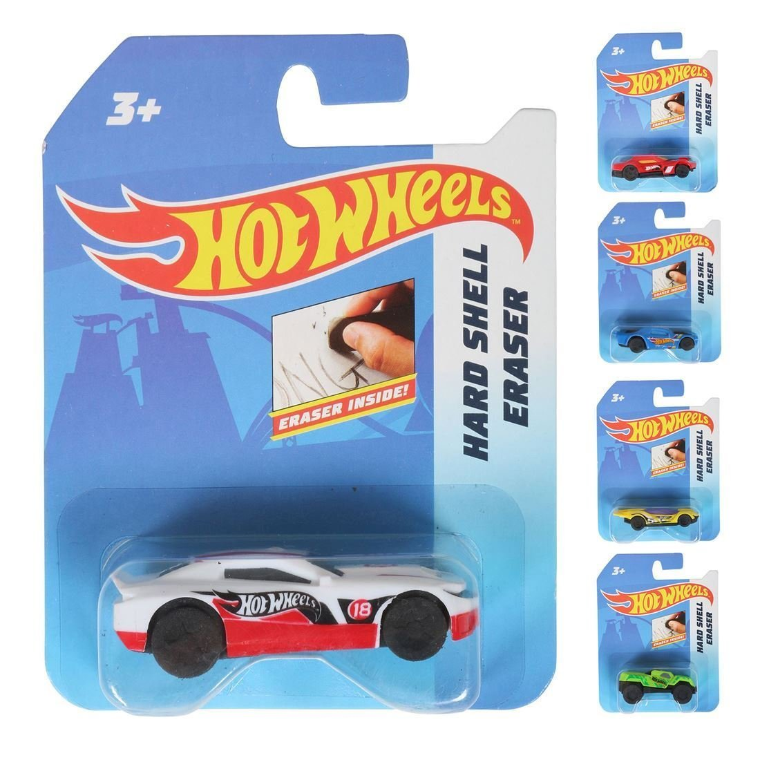 Confezione da 5 Hot Wheels auto hard shell con gommino interno 6 cm novità cancelleria Fun School Homework strofinare out Fast HOTWHEELS