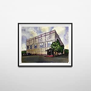 My Party Shirt Pam Beesly The Office Building Watercolor Painting Poster Dunder Mifflin 11 x 17