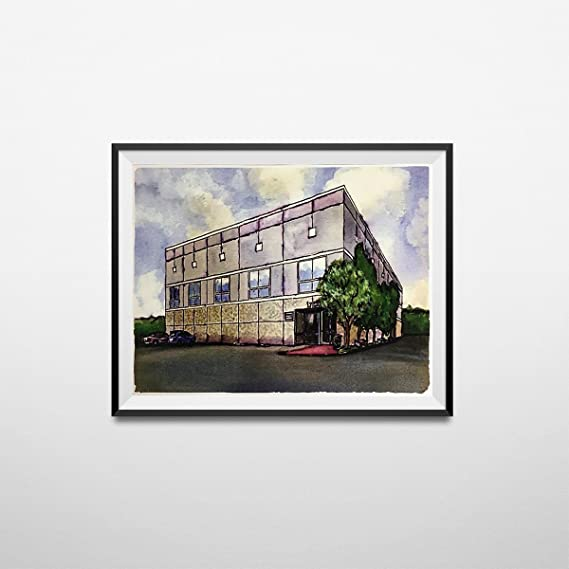 Pam Beesly The Office Building Watercolor Painting Poster Dunder Mifflin