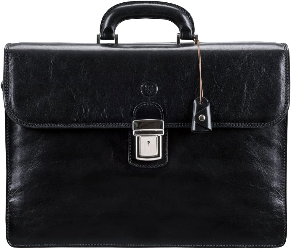 Maxwell Scott Men s Italian Leather Large Briefcase – Paolo3 Black