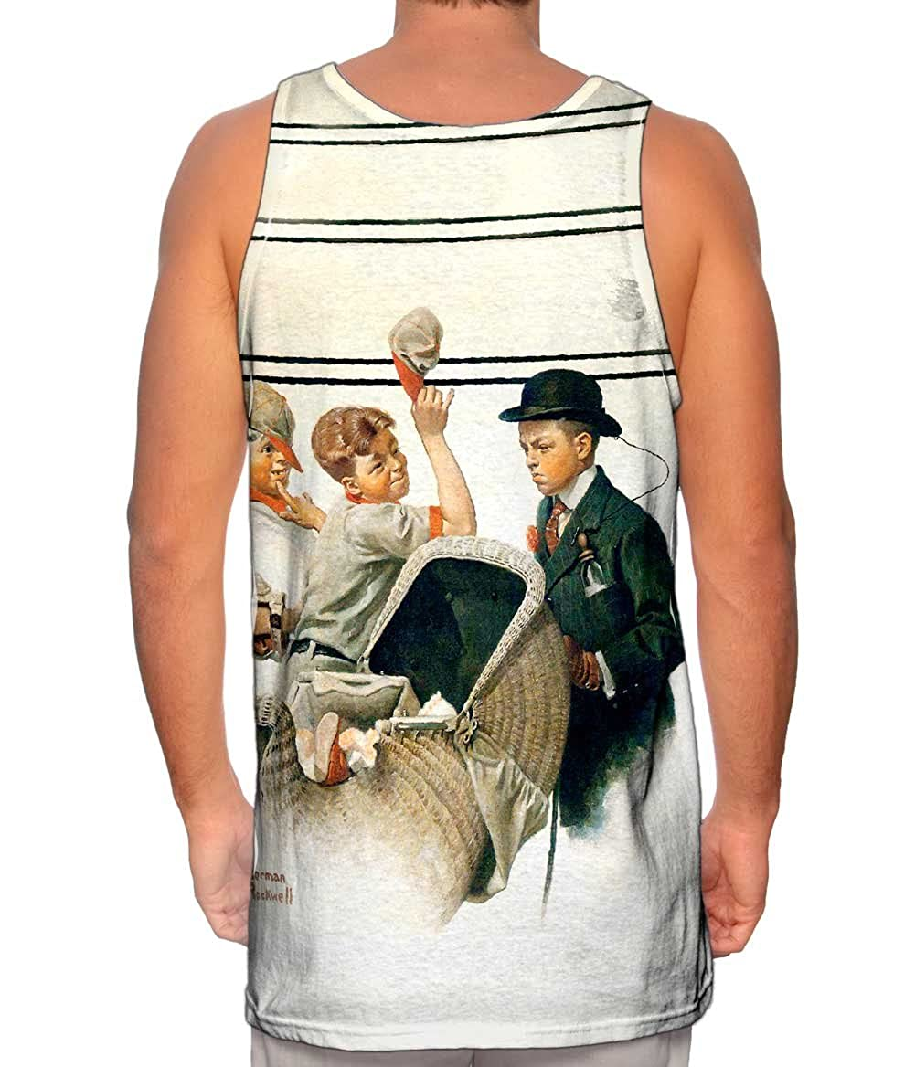Tshirt Norman Rockwell Mens Tank Top Yizzam Boy with Baby Carriage 1916