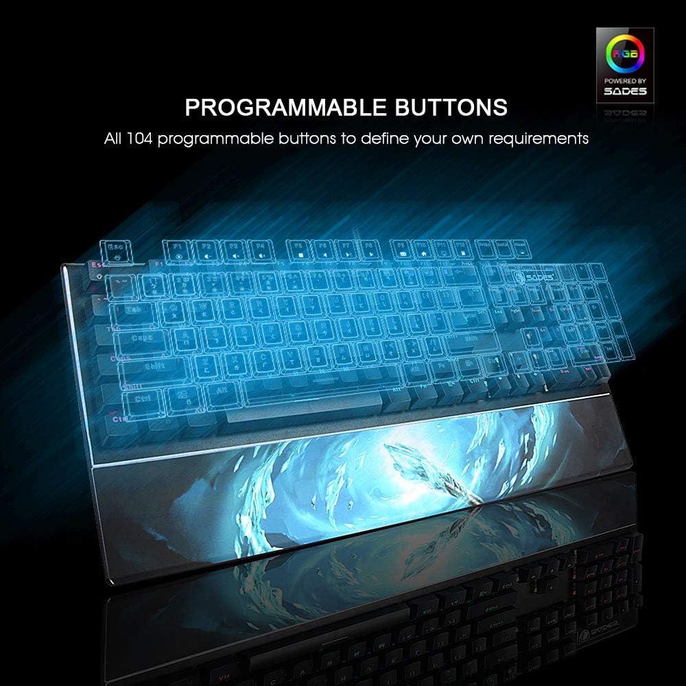 Teclado mecánico resistente al agua, SADES Frost Staff interruptor óptico teclados con exclusivo integrado reposamuñecas e iluminación RGB y 104 ...
