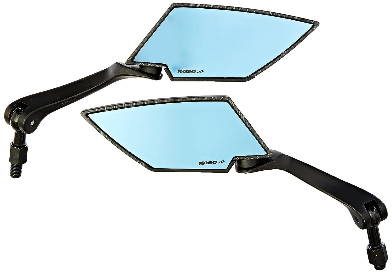 Koso OA016CK6 Carbon Look Shell//Blue Lens M10 Thread TT Style Mirror