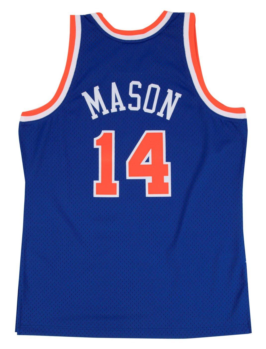 179bc5755e1 Amazon.com   Anthony Mason New York Knicks Mitchell   Ness NBA Swingman HWC  Jersey - Blue   Clothing