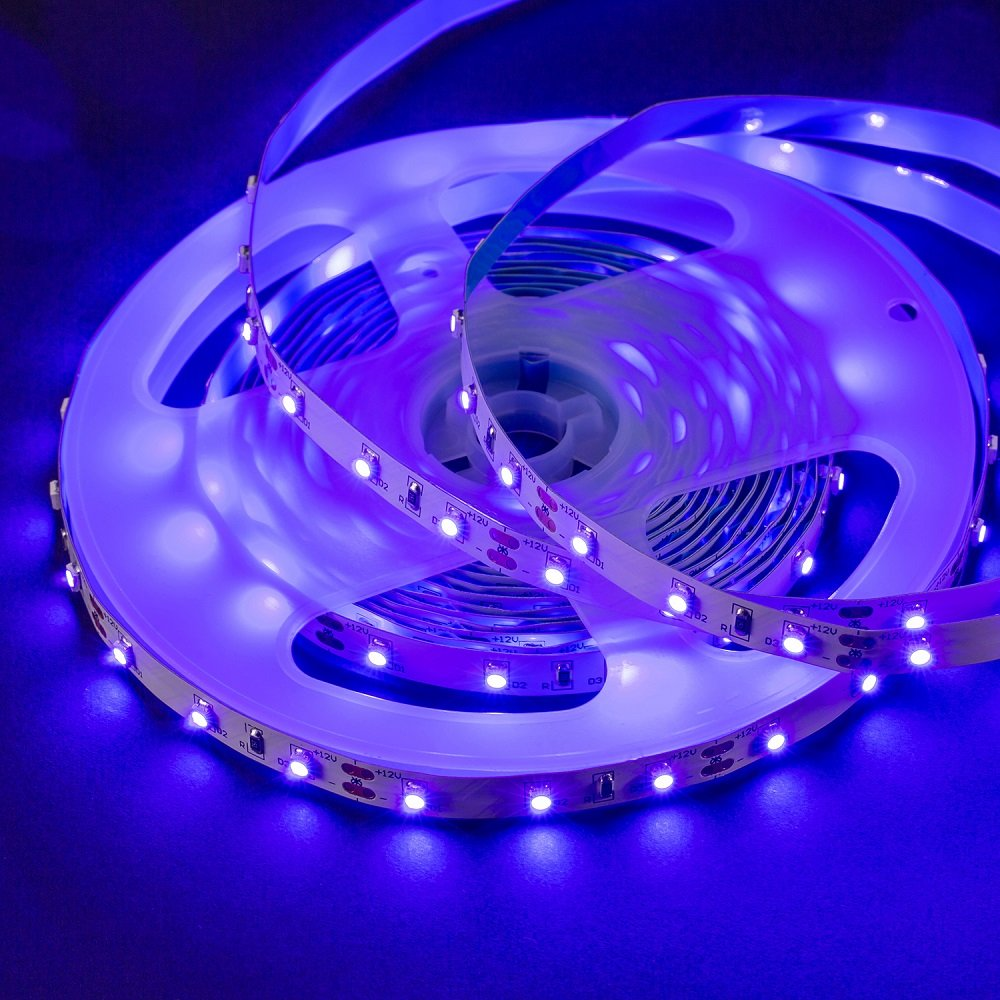 Omika UV LED Blacklight Strip Light Fixture 5M/16FT 3528 SMD - Purple Ultraviolet UV Light String with Strip Connector Kit, One-Side Fixing, Mode & Dimmer Controller – Perfect for Indoor, Wall Decor by Omika (Image #2)
