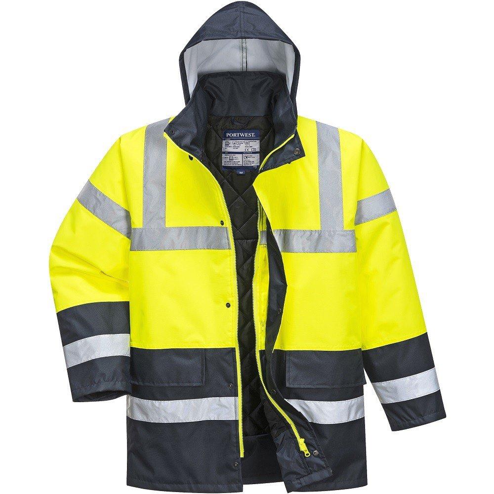 Yellow//Navy Regular Portwest S466YERXXL Hi-Vis Contrast Traffic Jacket Size XX-Large