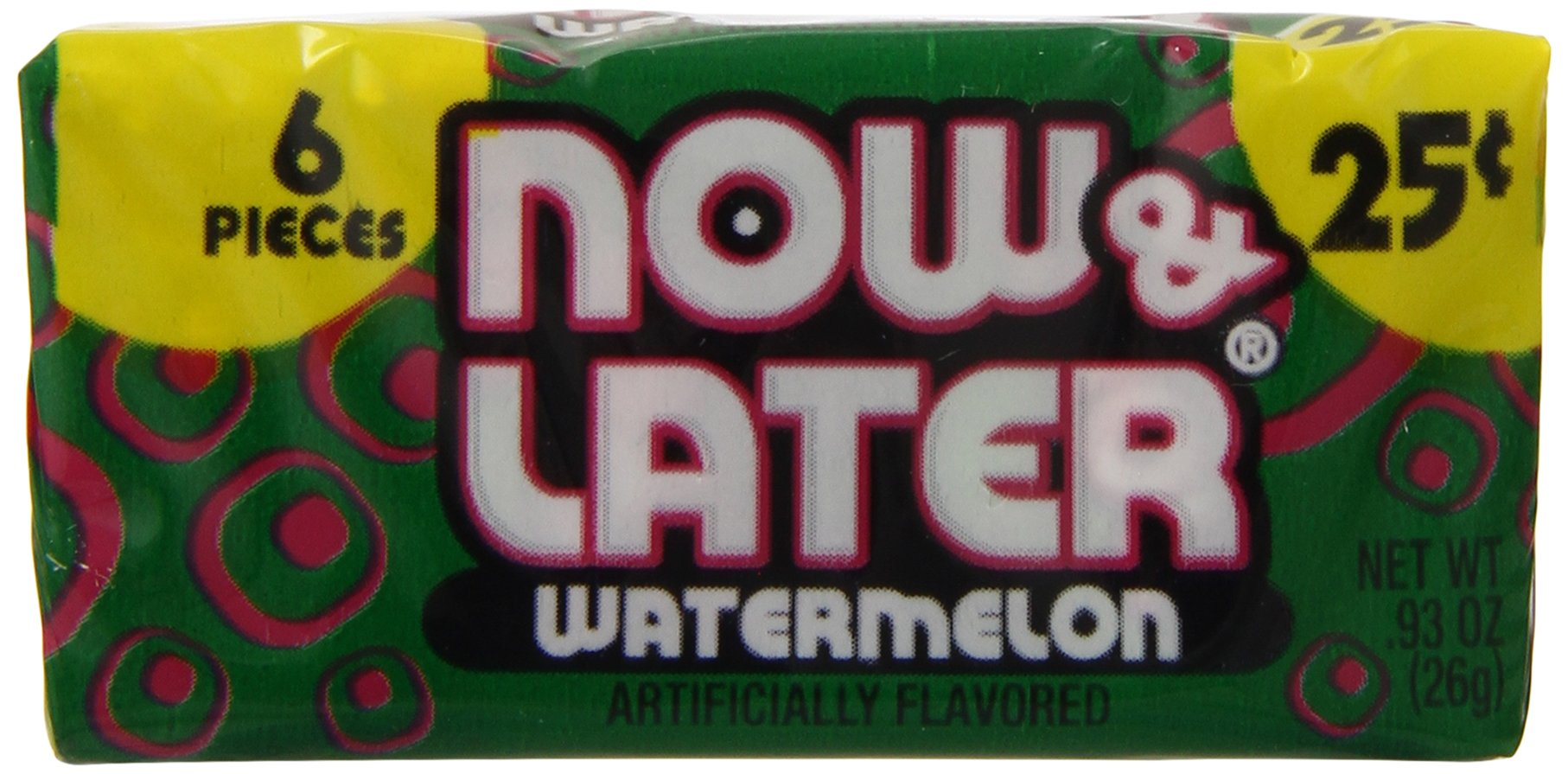 Now & Later Chewy Candy, Watermelon, 24 Count (Pack of 12) by Now and Later