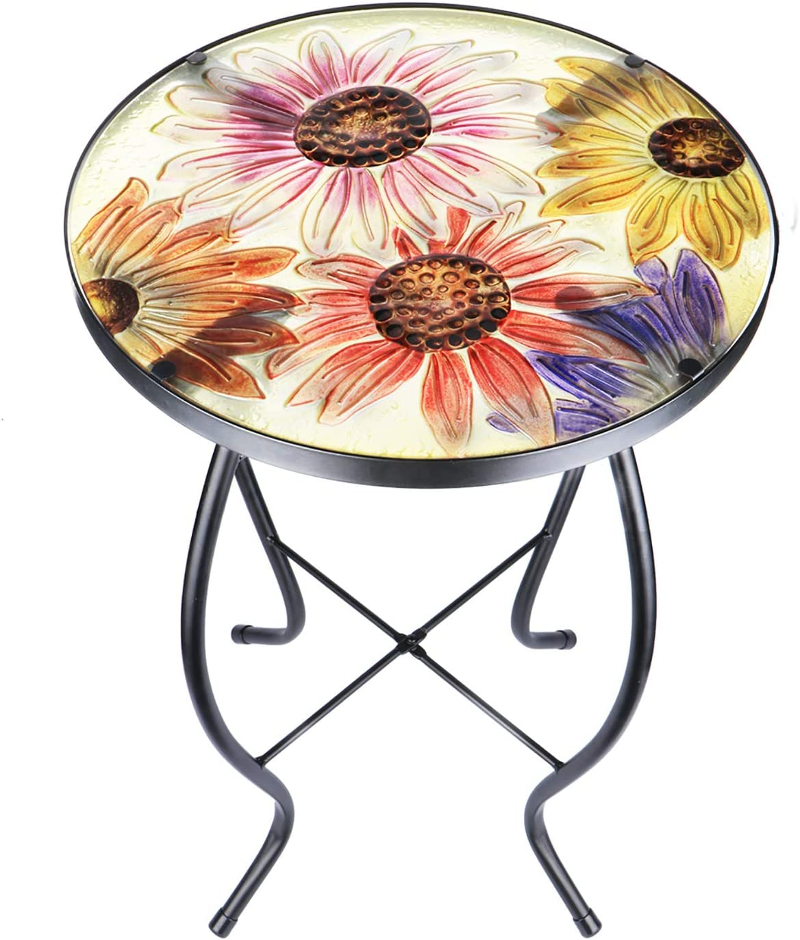 Mosaic Patio Side Table Outdoor Accent Table Bistro Coffee Table Plant End Table Small Porch Table Indoor Round Glass Balcony Hummingbird Plant Table Stands