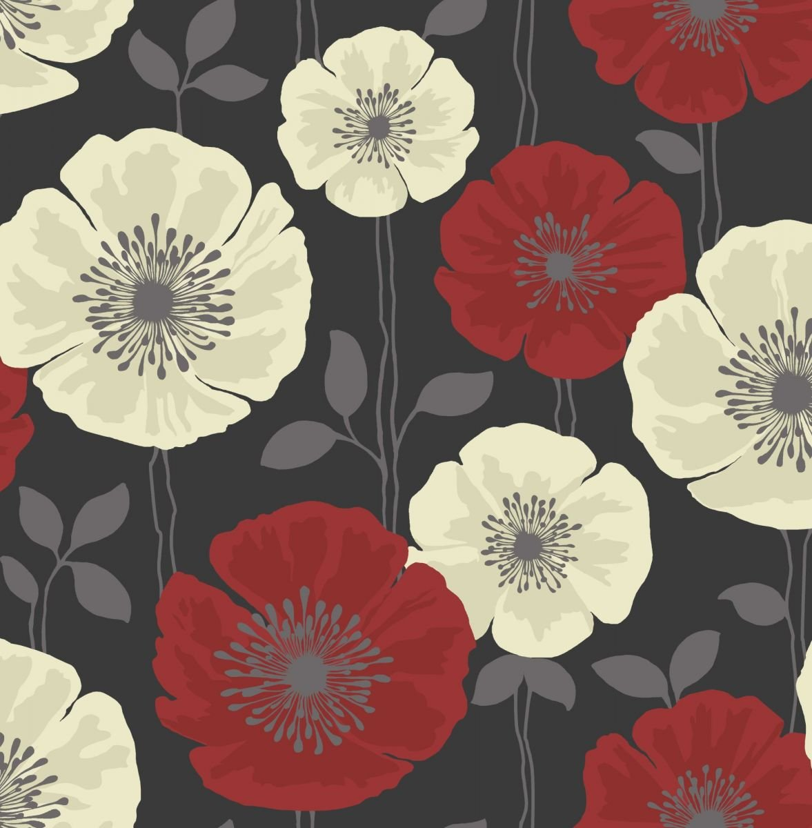 Fine decor poppie red and black motif floral wallpaper fd14868 fine decor poppie red and black motif floral wallpaper fd14868 amazon diy tools mightylinksfo