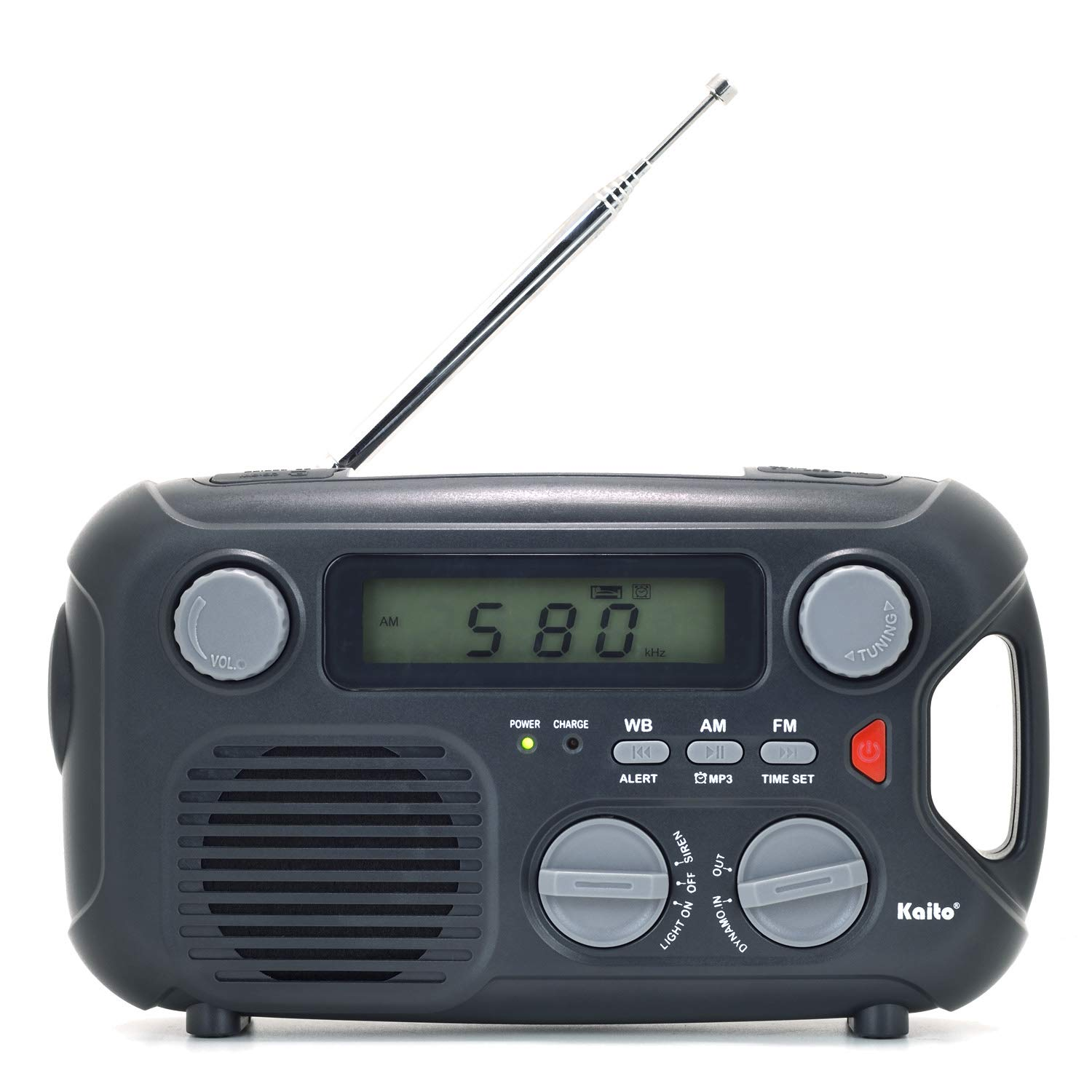 Kaito Emergency Radio KA580 Digital Solar Dynamo Crank Wind Up AM/FM & NOAA Weather Radio Receiver with Real-time Alert, MP3 Player & Phone Charger (Black)